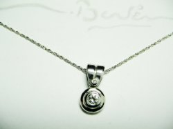 HAND MADE PENDANT,WHITE GOLD K18 WITH NATURAL DIAMOND ,ROUND BRILLIANT 0,10ct, F-VS.