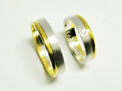 HAND MADE WEDDING RINGS,GOLD-WHITE GOLD K14-585,WITH NATURAL DIAMOND 0,02ct.ROUND BRILLIANT CUT ,VS-H. SPECIAL ORDER.